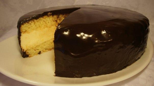 Готовый бисквитный торт с суфле