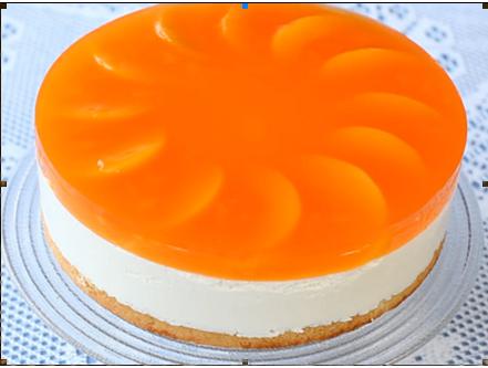 Торт с творожным суфле и персиками