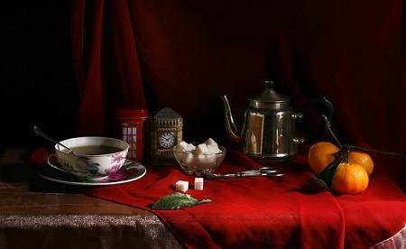 Чай с вишневым листом и мандариновыми корками